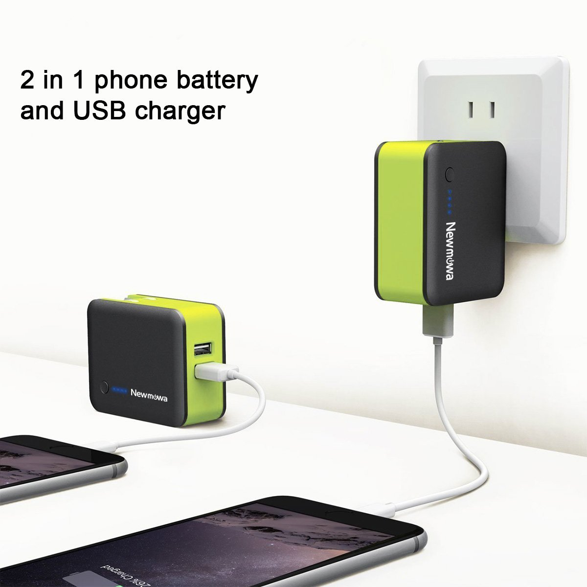 Newmowa 2-in-1 Portable Charger and Wall Charger, AC Plug